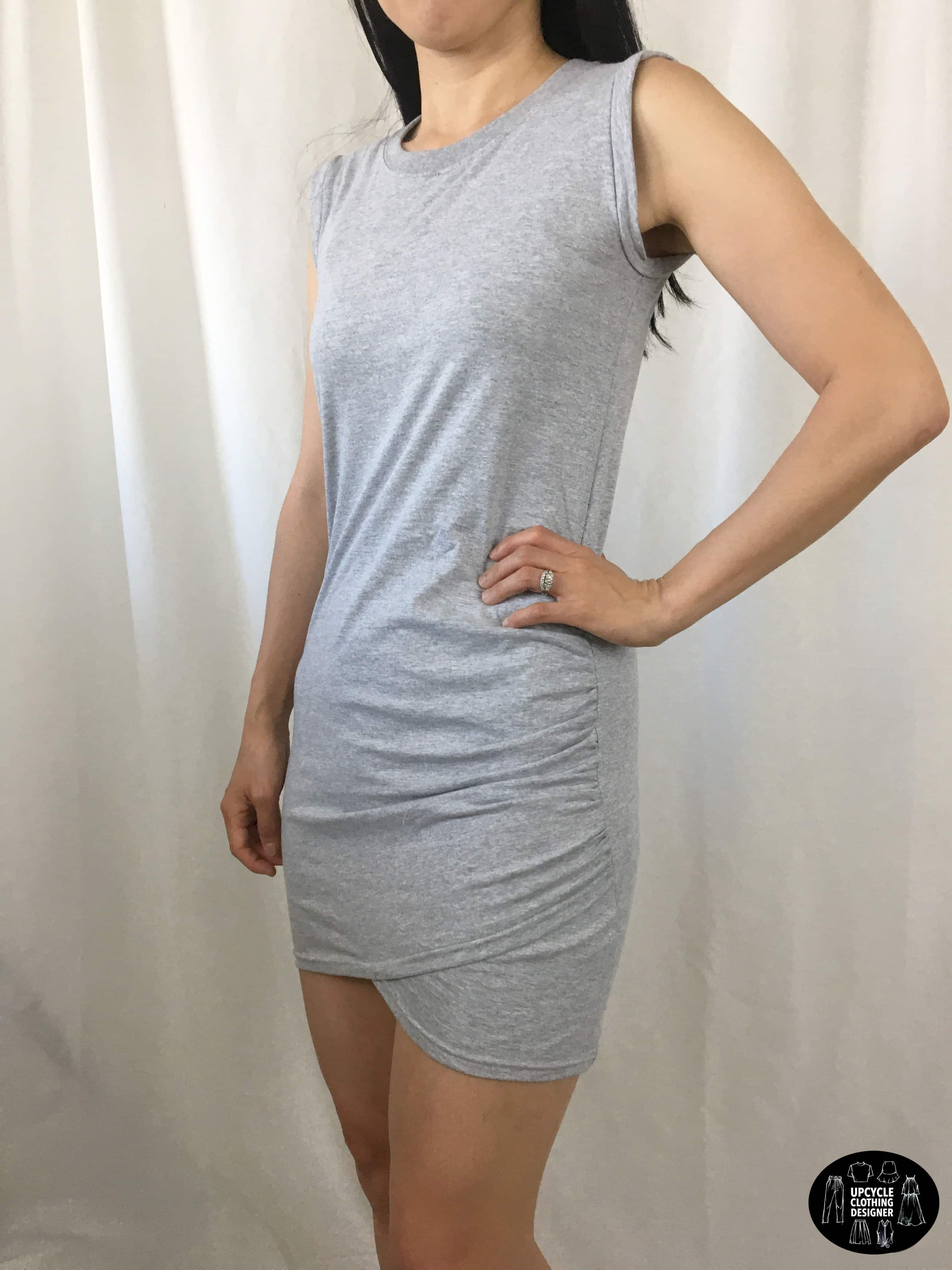 DIY side shirring dress from t-shirt sideview
