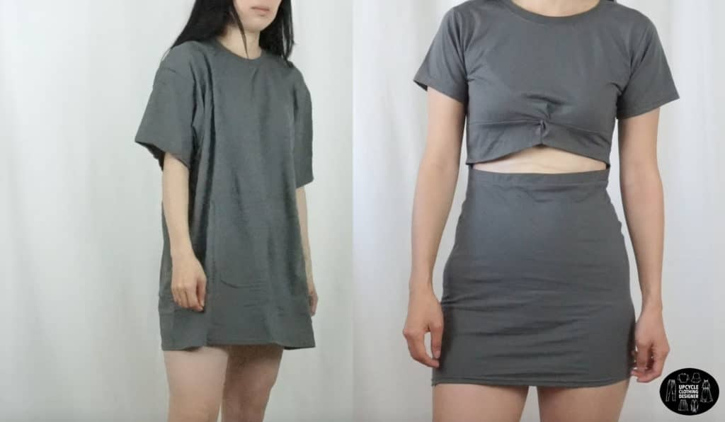 DIY twist front dress from t-shirt before and after
