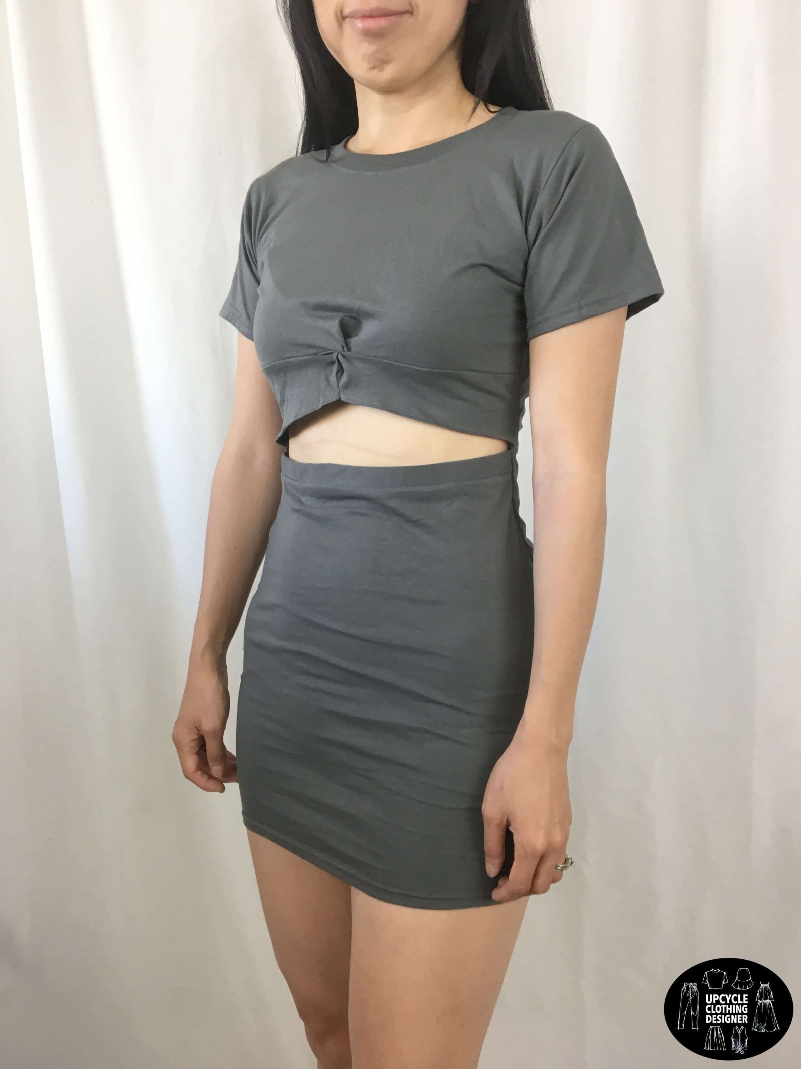 DIY twist front dress from t-shirt sideview