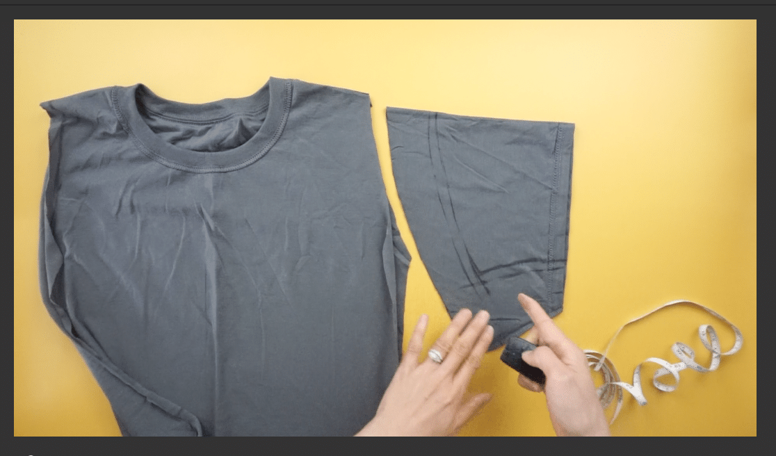 Use the excess fabric from the sleeves to make new sleeves for the t-shirt dress.