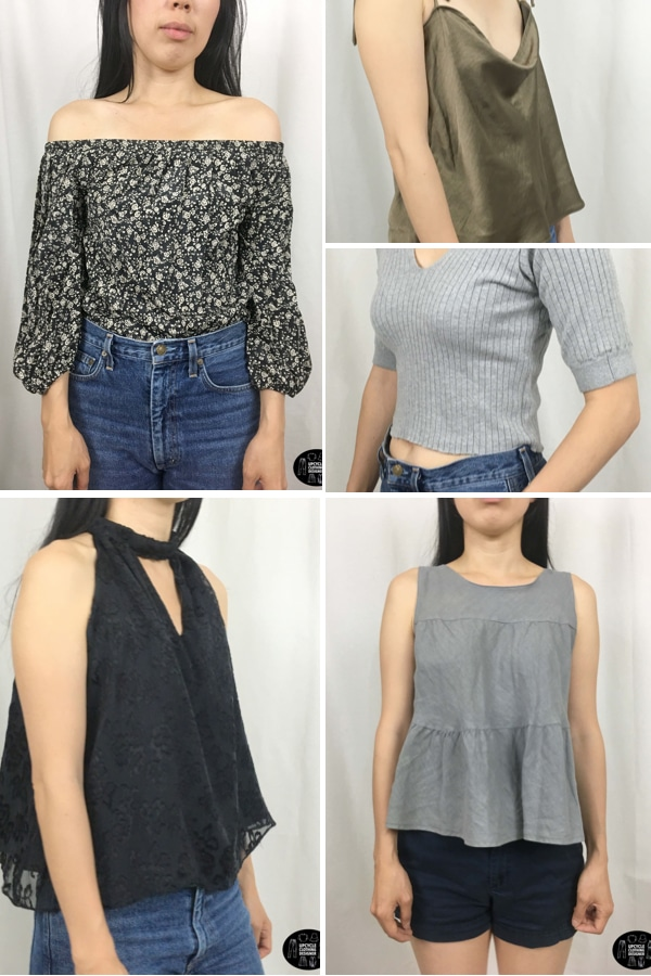 five different skirt into top refashion projects together in a collage