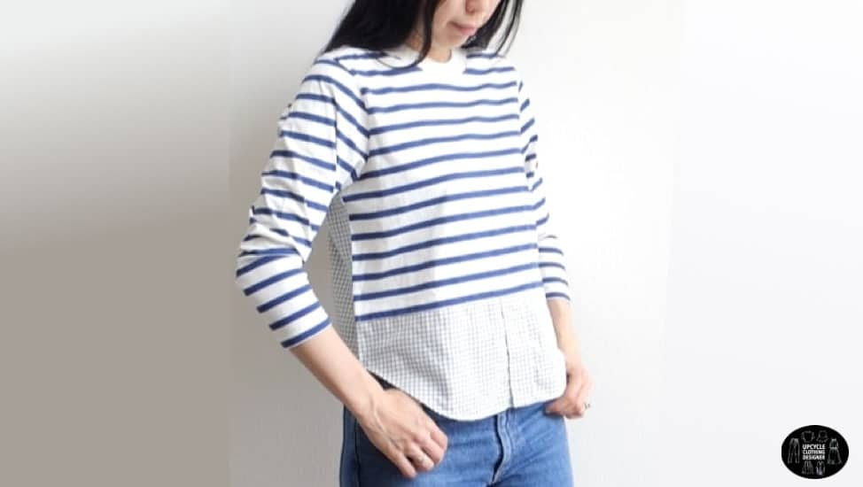 Front view of the diy knit woven mix top.