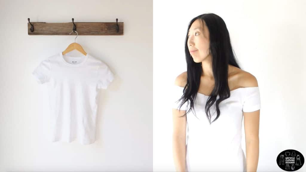 Before and after photo of the plain white tee and the no sew off the shoulder t-shirt