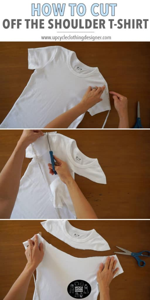 How to cut an off the shoulder t-shirt from a plain tee. The step-by-step photos demonstrate details for how to cut a tee into off the shoulder top.