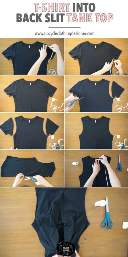 How to make a back slit tie tank top from a t-shirt. The no sew instructions are simple to follow and only take a few minute to make.