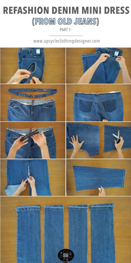 How to make the bottom of the denim mini dress from old jeans