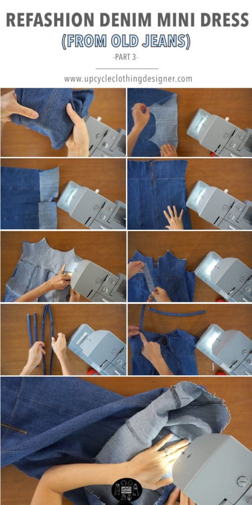 How to finish the denim mini dress from old jeans. The entire dress is made from a single old jeans