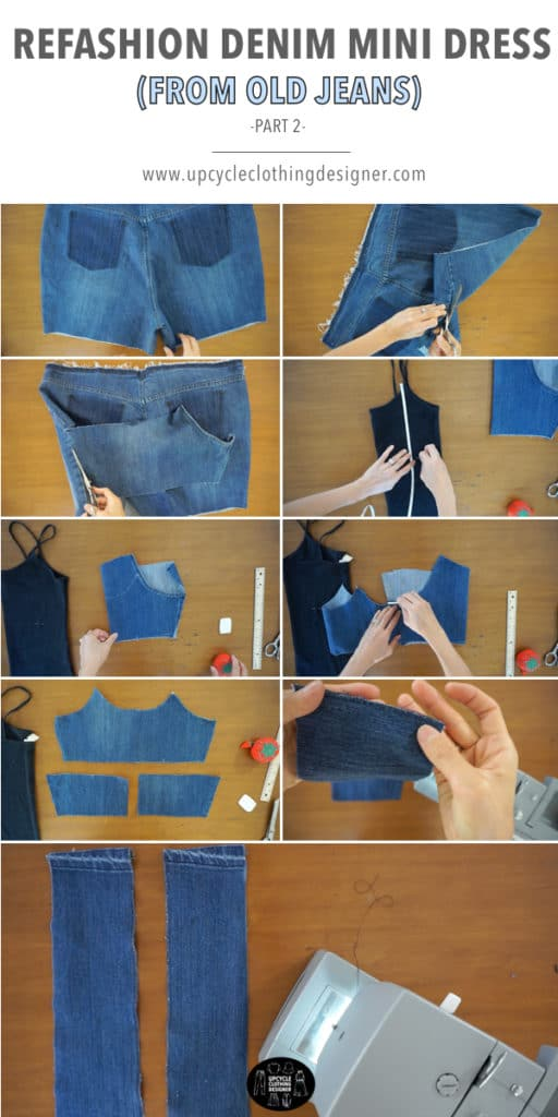 How to make the top bodice of the denim mini dress from old jeans