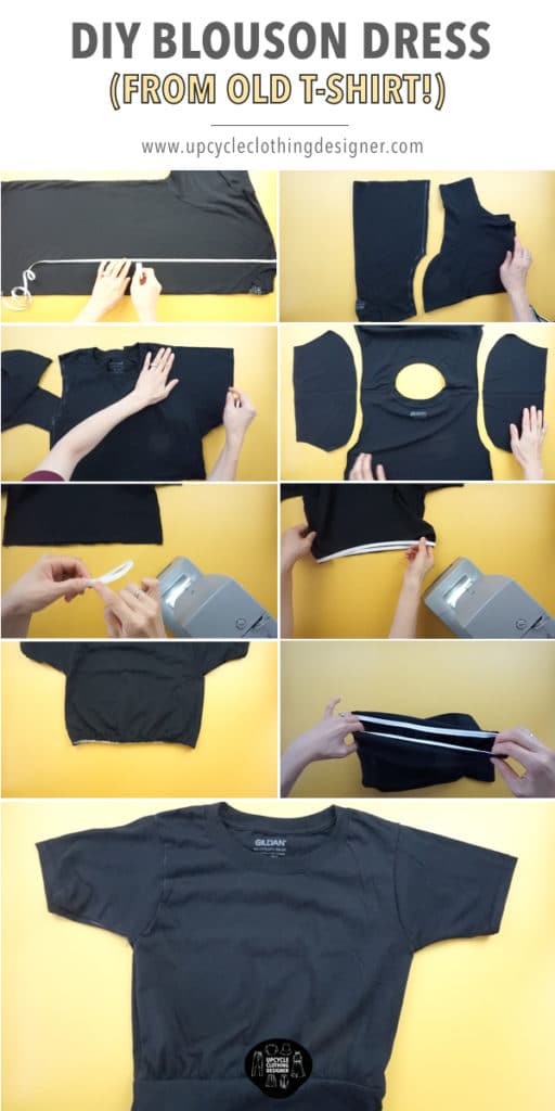 How to make a DIY blouson dress from t-shirt. Step-by-step pictures with detailed photos of the process.