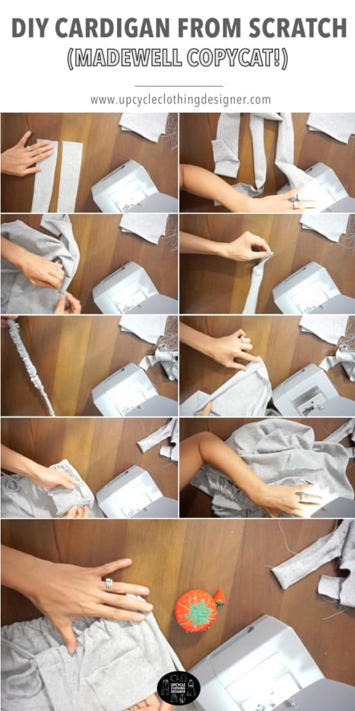 How to make the DIY cardigan from scratch. The step-by-step photos show how to finish the garment.
