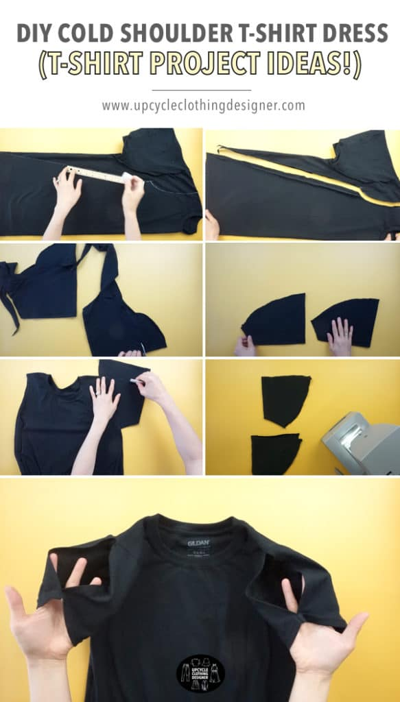 How to make a DIY cold shoulder t-shirt dress from a tee. The upcycle tutorial features step-by-step photos of the process for beginners to easily follow.