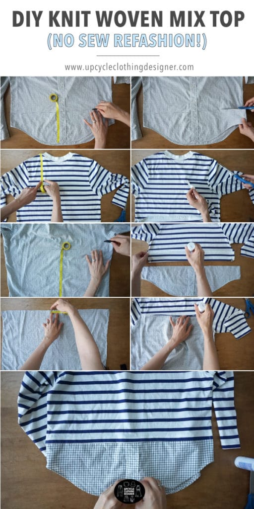 How to make a diy knit woven mix top by combining a knit shirt with a woven shirt.