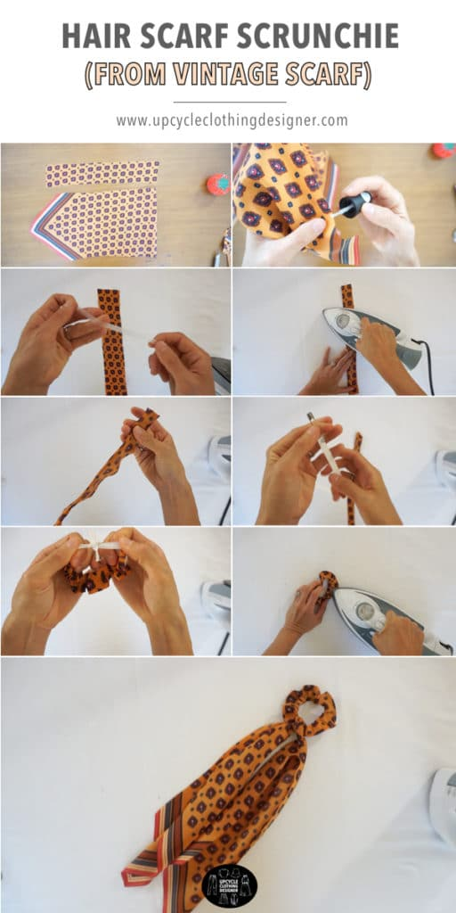 How to make diy no sew hair scarf scrunchie from a vintage scarf.