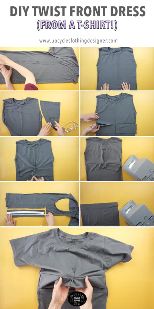 How to make a DIY twist front dress from t-shirt. Step-by-step pictures with easy instructions for beginners to follow.