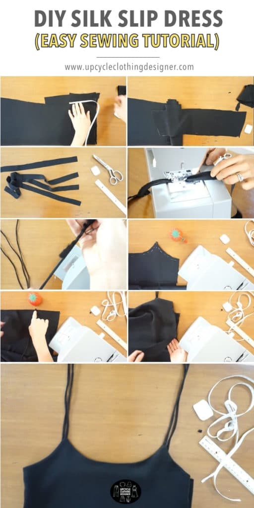 How to make the spaghetti shoulder straps and finish the top bodice of the DIY silk slip dress.