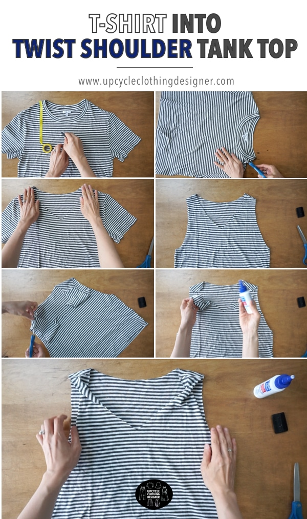 How to make a t-shirt into twist shoulder tank top without sewing. Easy no sew tutorial has step-by-step pictures of the process.