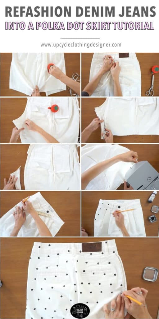 How to paint polka dots onto denim skirt