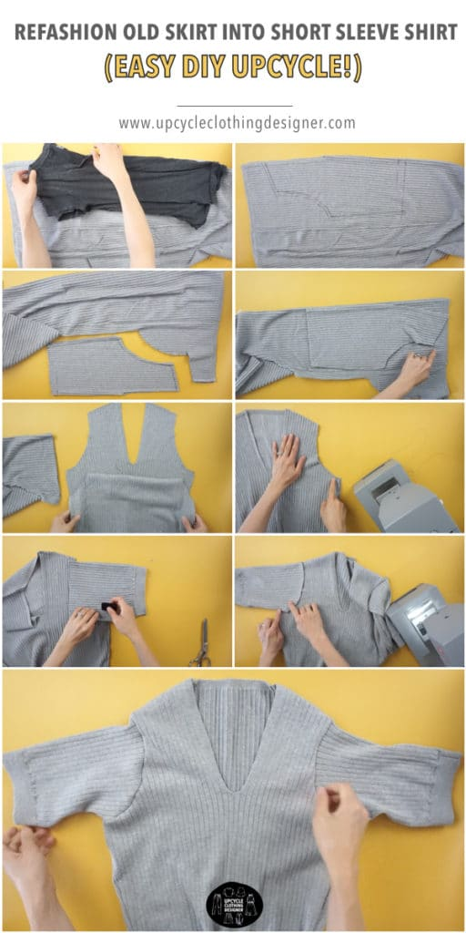 Step by step photos of how to refashion an old skirt into a short sleeve shirt.