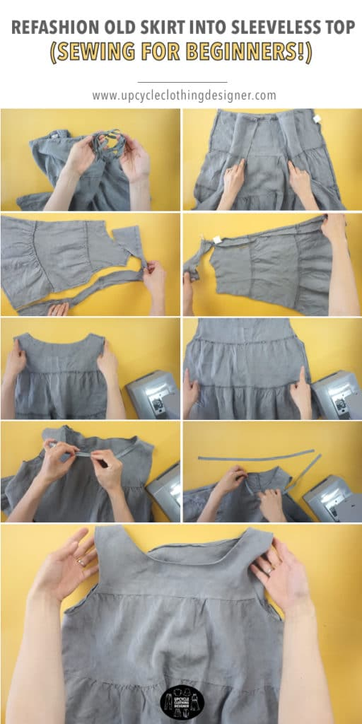 Step by step photos of how to refashion old skirt into sleeveless top