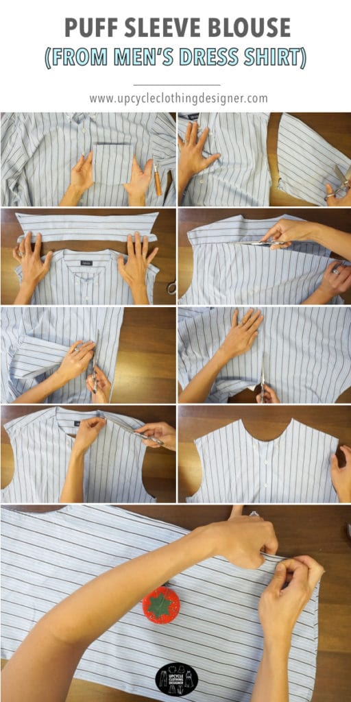How to transform a men's dress shirt into a puff sleeve blouse