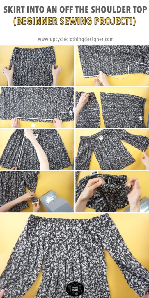 Step by step photos of how to transform a skirt into an off the shoulder top