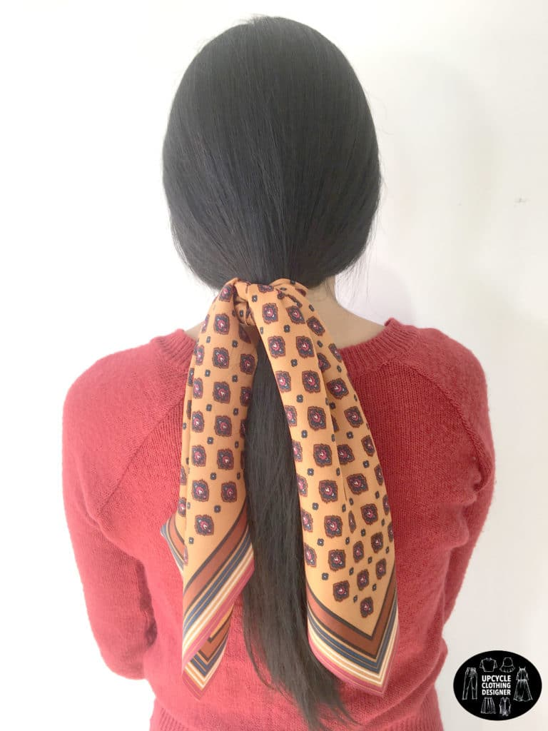 DIY no sew hair scarf scrunchie in a loose ponytail hairstyle