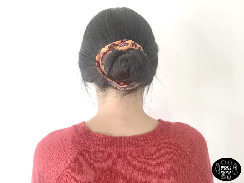 DIY no sew hair scrunchie in a low bun hairstyle