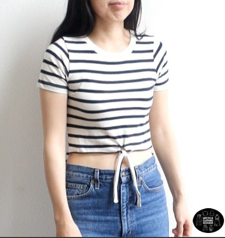 Front view of the no sew crop top. The center features a cute tie front detail that accentuates the design.