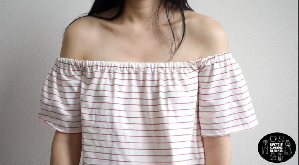 Close up front view of the diy off the shoulder t-shirt