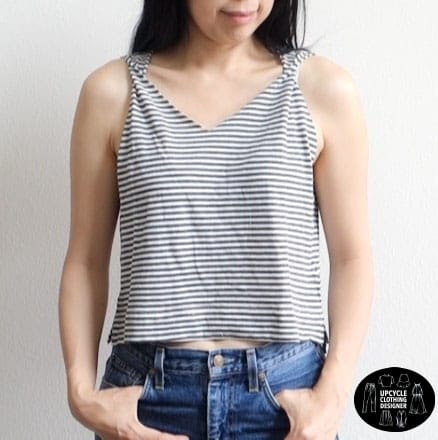 Front view of the no sew twist shoulder tank top