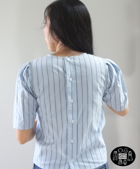 Back view of the puff sleeve blouse from men's dress shirt