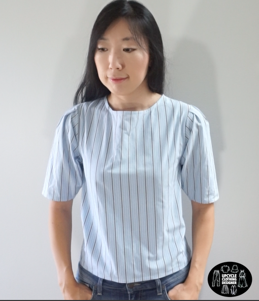 Front view of the puff sleeve blouse from men's dress shirt