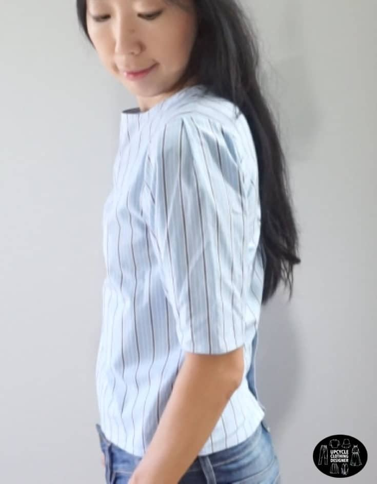 Sideview of the puff sleeve blouse from men's dress shirt