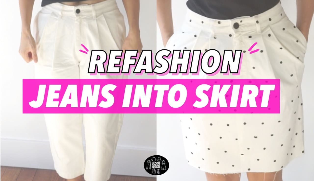 Refashion old denim jeans into a polka dot skirt before and after