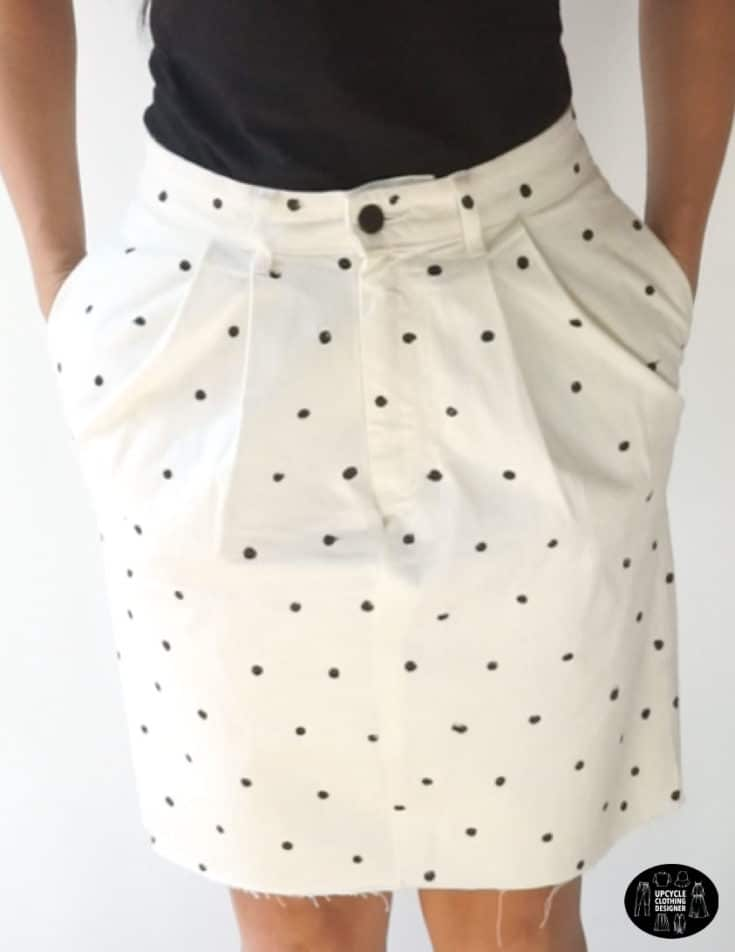 Black and white polka dot skirt from old denim jeans