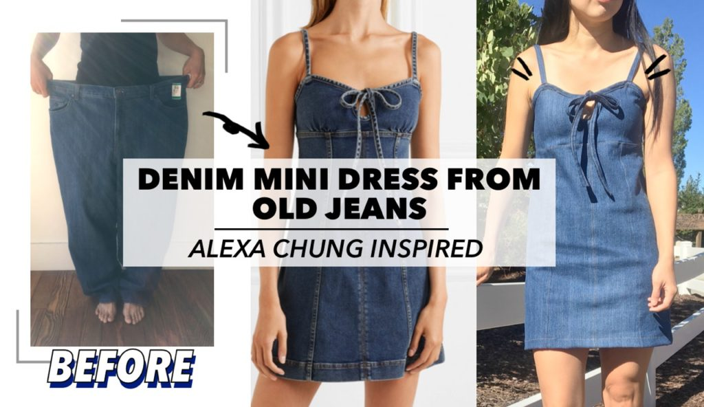 Refashion denim mini dress from old jeans before and after
