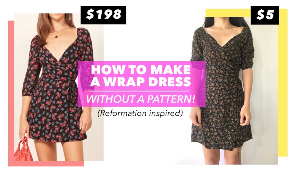 Front view of the DIY wrap dress without a pattern. The design is inspired by a best selling Reformation wrap dress.
