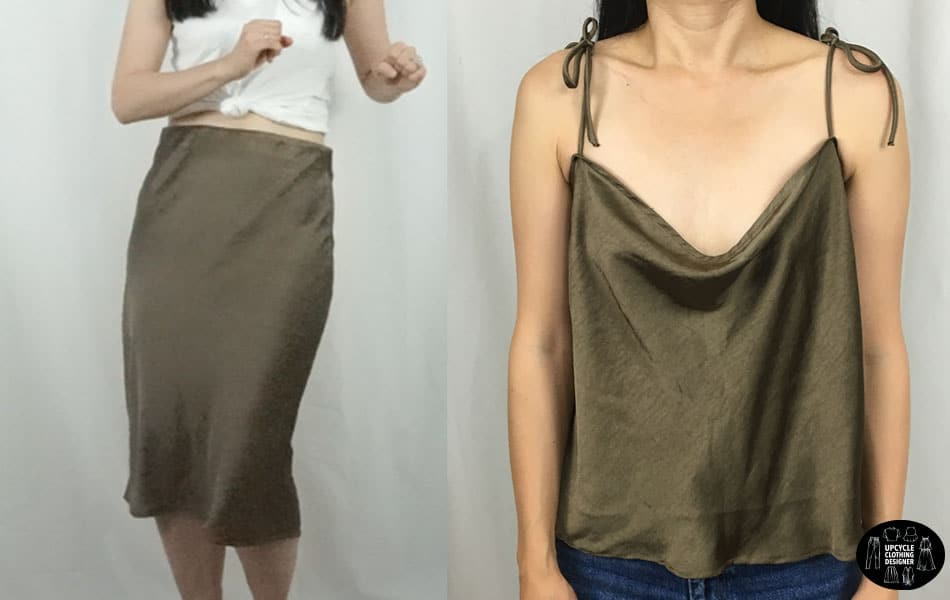 Upcycle skirt into camisole top before and after