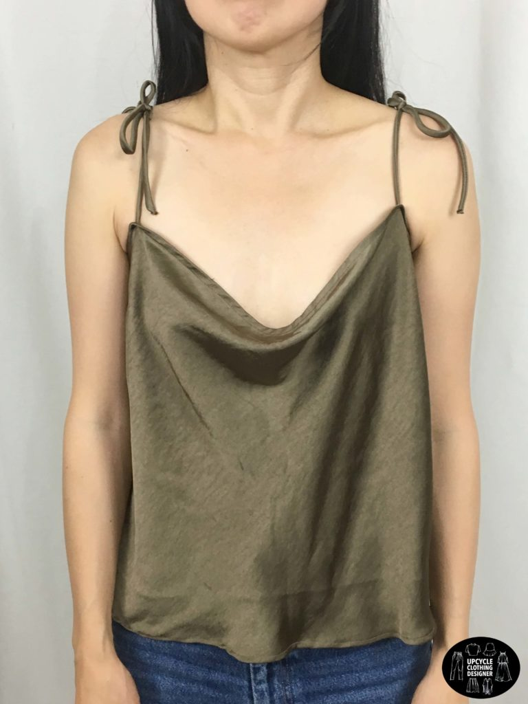 Front view of camisole top from refashion skirt
