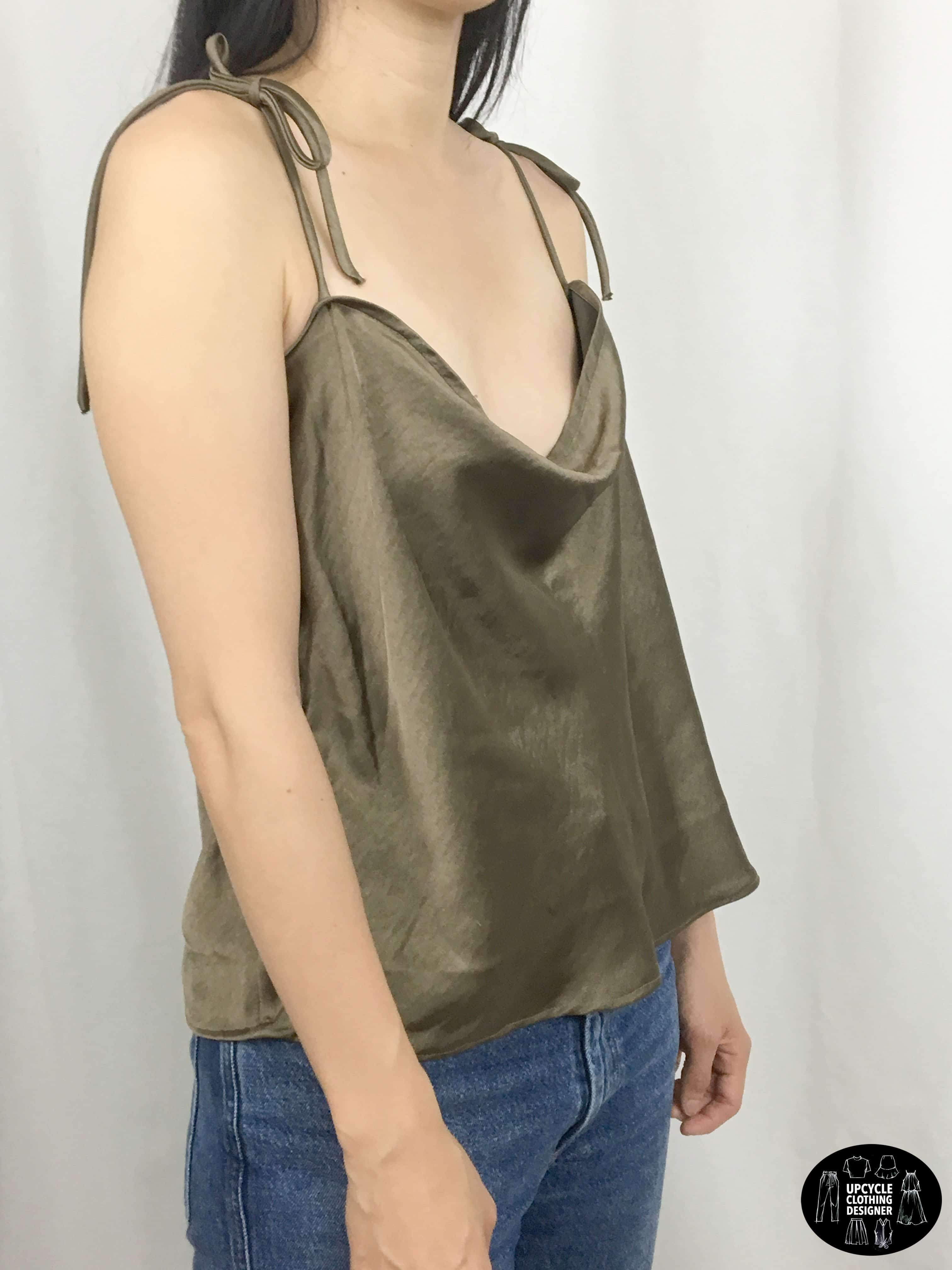 Sideview of camisole top from upcycle skirt