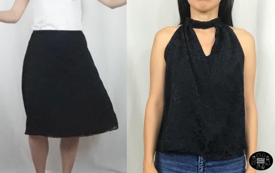 Skirt into halter neck top before and after