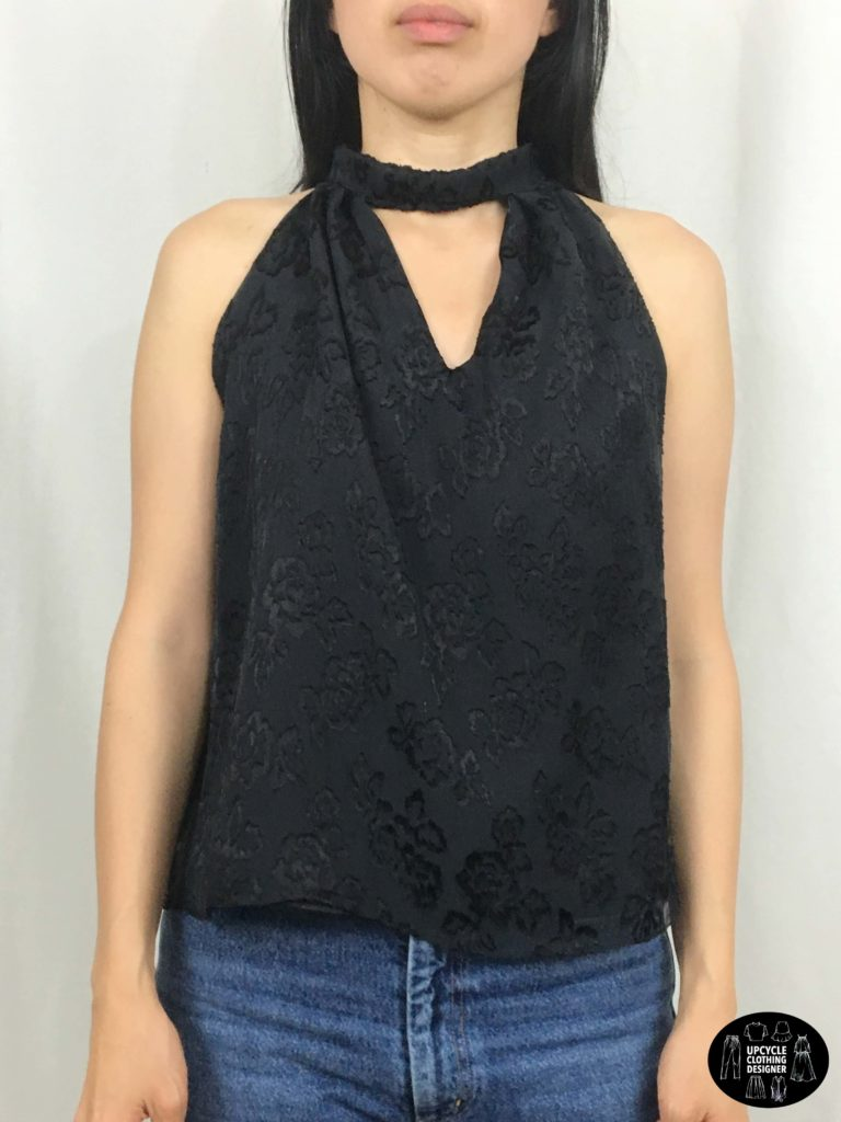 Front view of halter neck top from refashion skirt