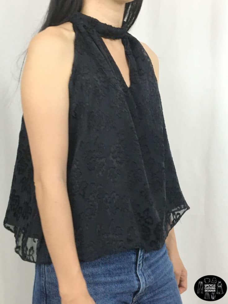 Sideview of halter neck top from upcycle skirt