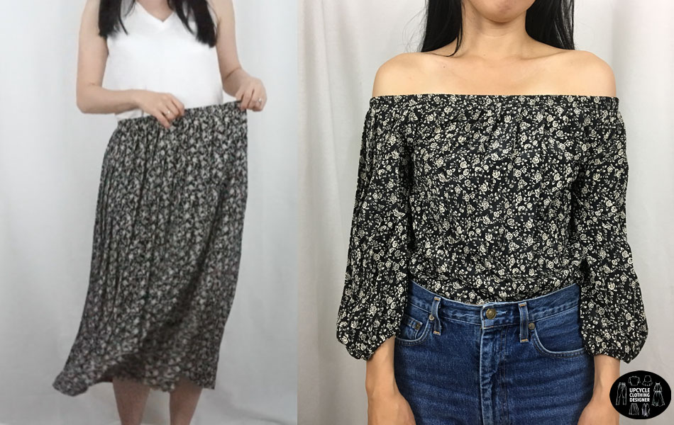 skirt into off the shoulder top before and after