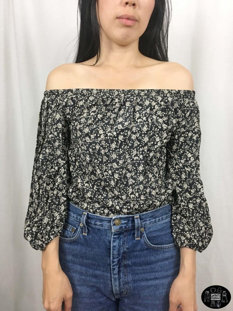 Front view of off the shoulder top from upcycle skirt