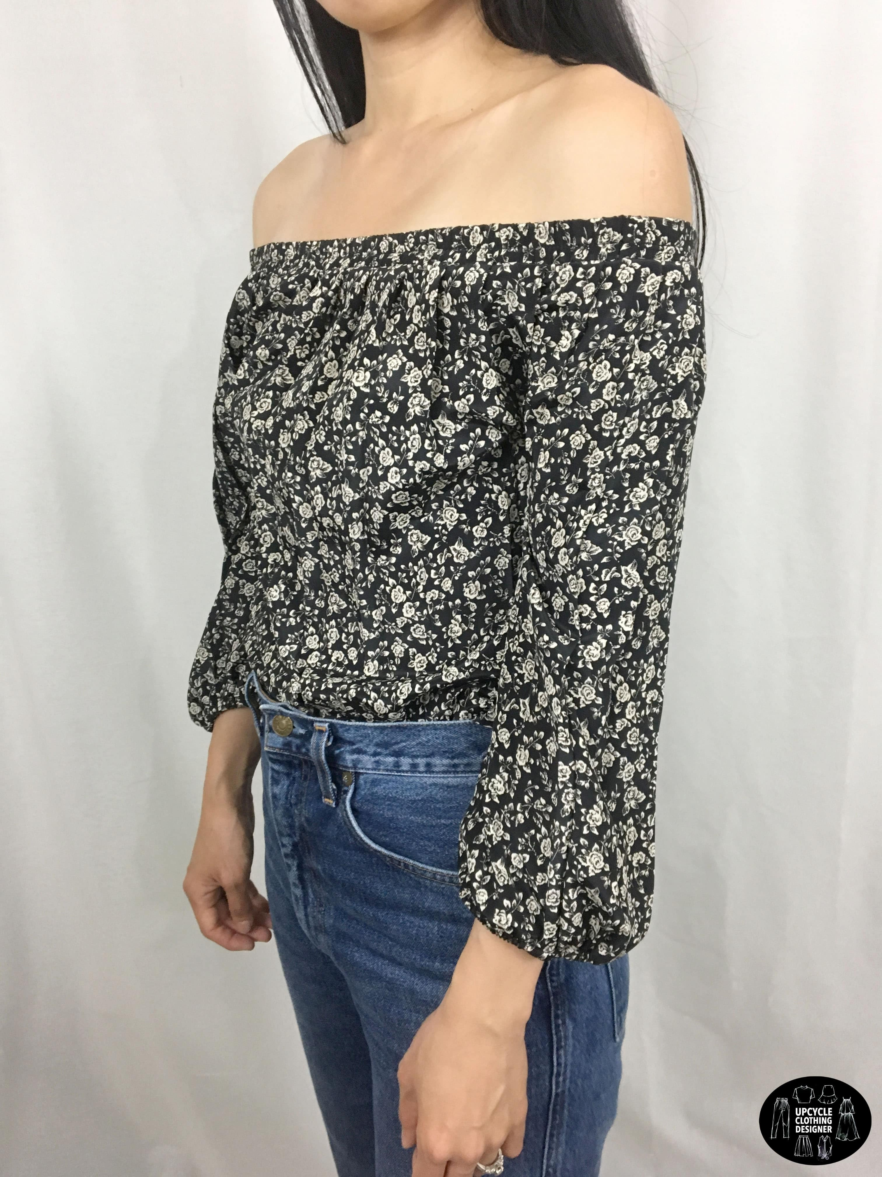 Sideview of off the shoulder top from refashion skirt