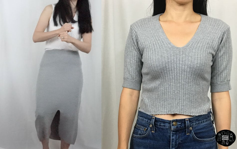 skirt into short sleeve shirt before and after