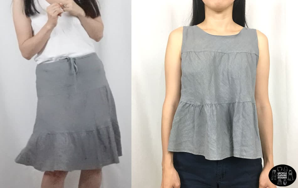 skirt into sleeveless top before and after