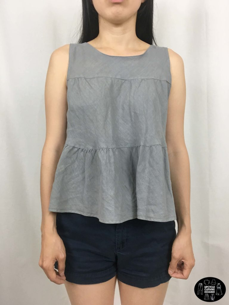 Front view of sleeveless top from refashion skirt