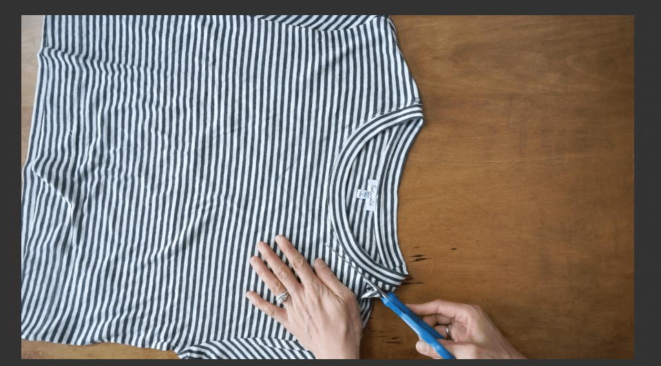 Draw the V-neckline with fabric chalk then cut along the line